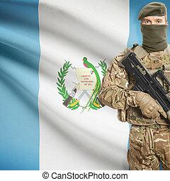 soldado, tenencia, máquina, arma de fuego, con,...