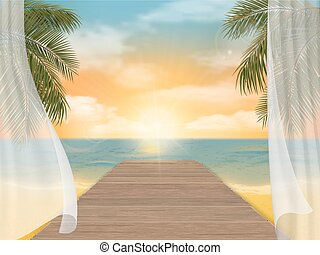 View of the sea beach on sunset and jetty Vector travel...