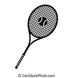 Tennis racquet and ball icon - Tennis racquet and ball black...