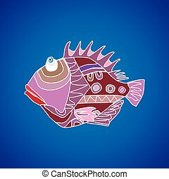 Funny fish on a blue background