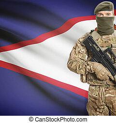 soldato, presa a terra, macchina, fucile, con, bandiera, su,...