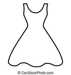 Woman dress line icon. Vector illustration on white...