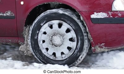 Car skidding in the snow. Roads covered with snow. Winter...