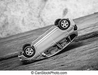 Toy car accident - Rollover toy car at steep slope, black...