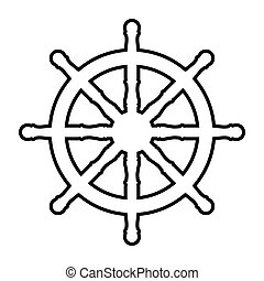 Ship wheel line icon. Vector illustration on white...