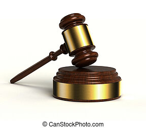 Gavel - 3D image of gavel with sound block over white...