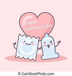 Happy Valentine day - condom and package cartoon with love...