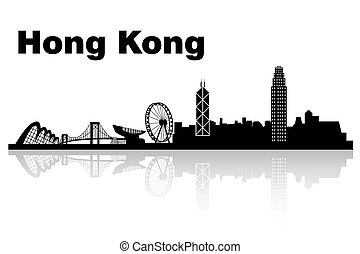 Hong Kong skyline with white background, great for your...