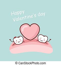 Happy Valentine day - Happy cartoon tooth with love heart,...