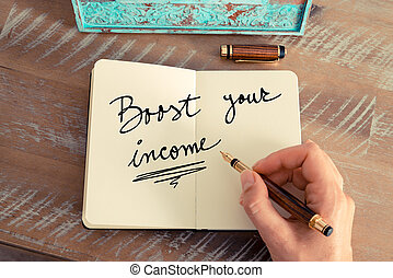 Handwritten text BOOST YOUR INCOME - Retro effect and toned...