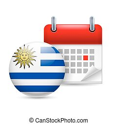 Icon of National Day in Uruguay - Calendar and round...