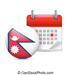Icon of National Day in Nepal - Calendar and round Nepalese...