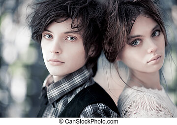 Young couple portrait Focus on male face