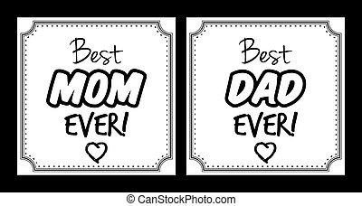 Best mom, best dad ever vector card