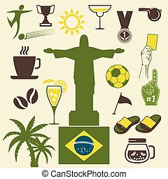 Brazil icons set - Vector illustration of the Brazil icons...