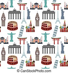 Famous landmarks pattern - Vector illustration of the Famous...