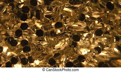 Golden hexagon particles background - Background of yellow...
