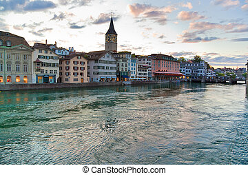Zurich ciy in Switzerland. Evening cityscape.