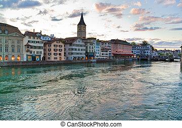 Zurich ciy in Switzerland. Evening cityscape.
