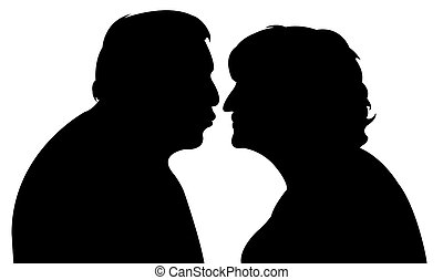 an old couple, kissing each other