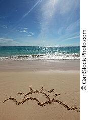 sol, desenho, ligado, Um, praia,