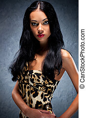 Young woman portrait - Young woman studio fashion portrait.