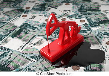 Pumpjack And Spilled Oil On Russian Rubles 3D Scene