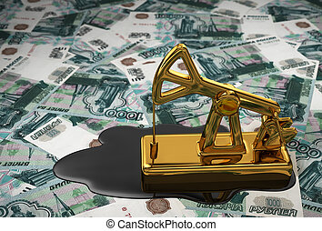 Golden Pumpjack And Spilled Oil Over Russian Rubles. 3D...