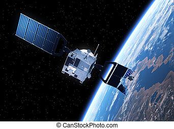 chocado, satélite, vuelo, hacia, el, tierra,