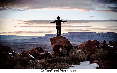 Marble canyon - Boy standing on a rock is looking stunning...