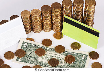 Gold money stack macro - Gold money stack close up. Business...