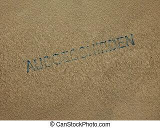 Ausgeschieden Withdrawn - Ausgeschieden ie Withdrawn stamped...