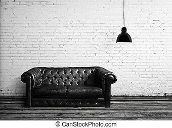 cuero, sofá,