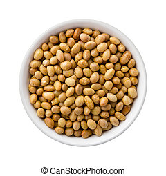 Roasted Soy Nuts in a Ceramic Bowl