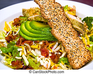 Fresh Southwestern Style Salad with Avocado Slices and...