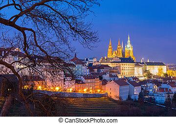 Gold Prague Castle at night, Czech Republic - Prague Castle,...