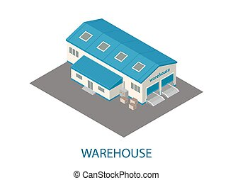three-dimensional warehouse building isometric iconswith...