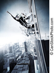 Goth woman jumping out of the skyscraper. Cold blue tint.