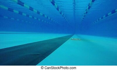 Pool underwater walkway blue water - Pool underwater walkway...