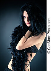 Goth woman fashion On dark background
