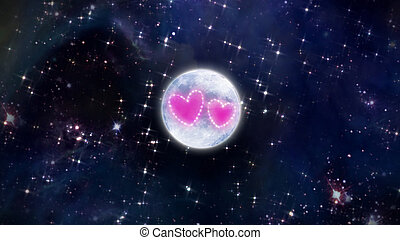 heart of star with moon in space