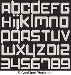 robotic - set of stylized, alphabet letters and numbers...