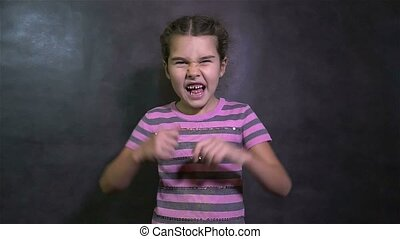 teen girl screaming angry quarrel conflict waving his arms -...