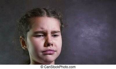 girl teen cries tears flow portrait problems under stress -...