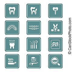 Dental icons TEAL series - Dental care tools and procedures...