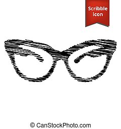 Vector illustration of stylish sunglasses with pen effect.