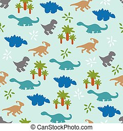 Seamless pattern with dinosaurs - Vector illustration...