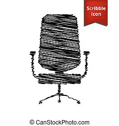 office chair icon isolated with pen effect