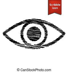 Eye Icon. Vector illustration with pen effect. Scribble icon...