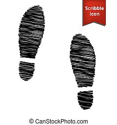 Imprint soles shoes icon with pen effect Scribble icon for...